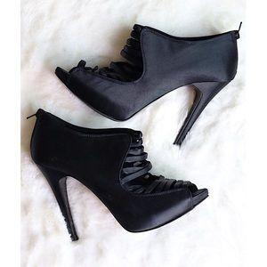 Aldo Black Satin Heels